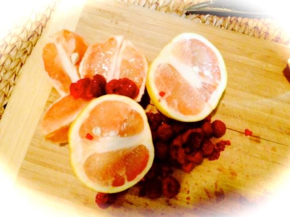 Grapefruit and raspberries